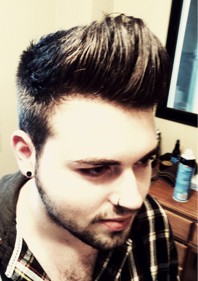 Rock the pomp #pompadour #rockthecut crashoffate:  Killer fuggin' pomp. Loved doing this cut.