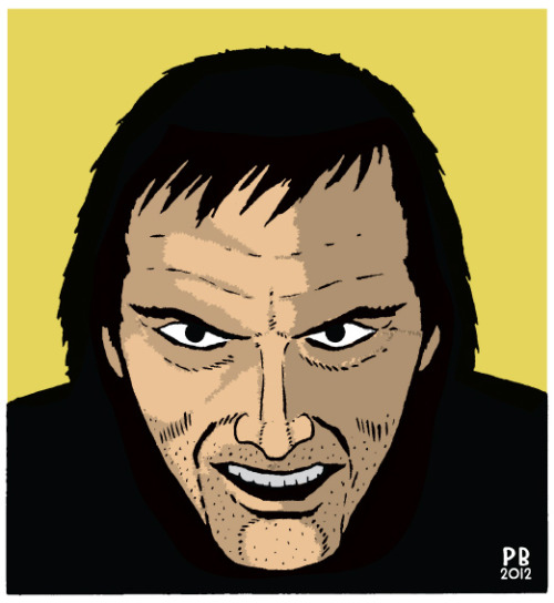 """Heeeere's Johnny!!"" Jack Nicholson as Jack Torrance from ""The Shining"" by Pat Brosseau http://oddsnsods.tumblr.com/"