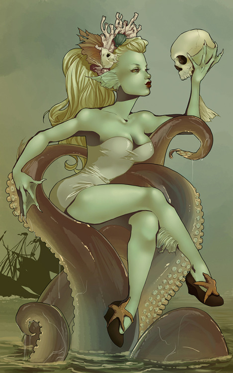 lettiebobettie:  Day ten is the creature from the black lagoon~ I couldn't help but base her off Lagoona Blue, cus she is so adorable. Her bathing suit comes from the CftBL movie, though. Cept… the monster isn't wearing it in the movie. ; ) She just wanted a pirate boyfriend… Have a Sunday full of tricks and treats~