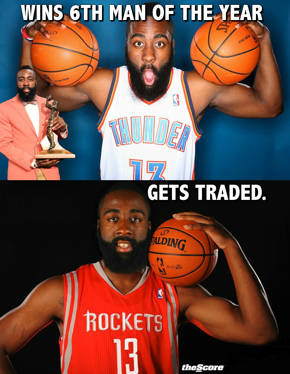 #NBA Sixth Man of the Year Award Curse? Ask Harden (meme):