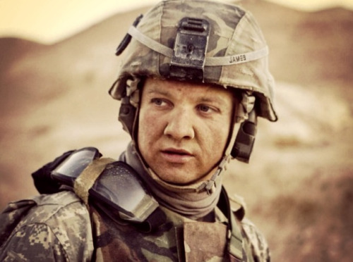 Watching The Hurt Locker, awesome film. Jeremy Renner is fantastic in this role.