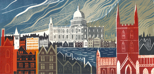 Here's a recent lino cut depicting Restoration London. Printed at Inkspot Press in Brighton. 20 x 40 cm.