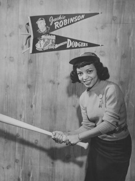 vintageblackglamour:  Ruby Dee (who turned 88 Oct 27!) as Jackie Robinson's wife Rachel in a publicity photo from Feb 1950 for the biopic 'The Jackie Robinson Story'. Photo by FPG/Archive Photos/Getty Images).