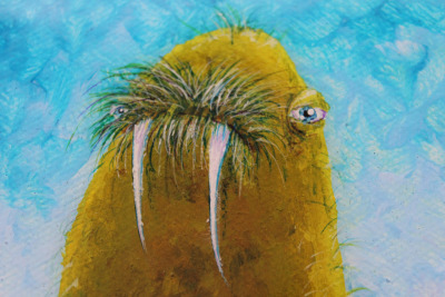 "GRASS WALRUS buy it here Acrylic on 4""x4"" canvas with glossy resin varnish Original painting, Mike Boston© 2012"
