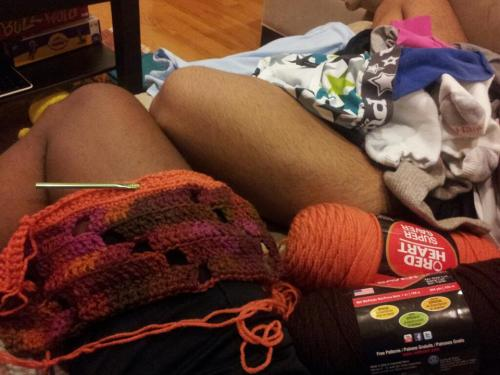 Just two little old ladies, crocheting and folding laundry, waiting on the hurricane. Clearly Ketan and I are super-interesting, fun people.