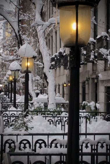Snow Lanterns, West Village, New York City  photo via laboomeria