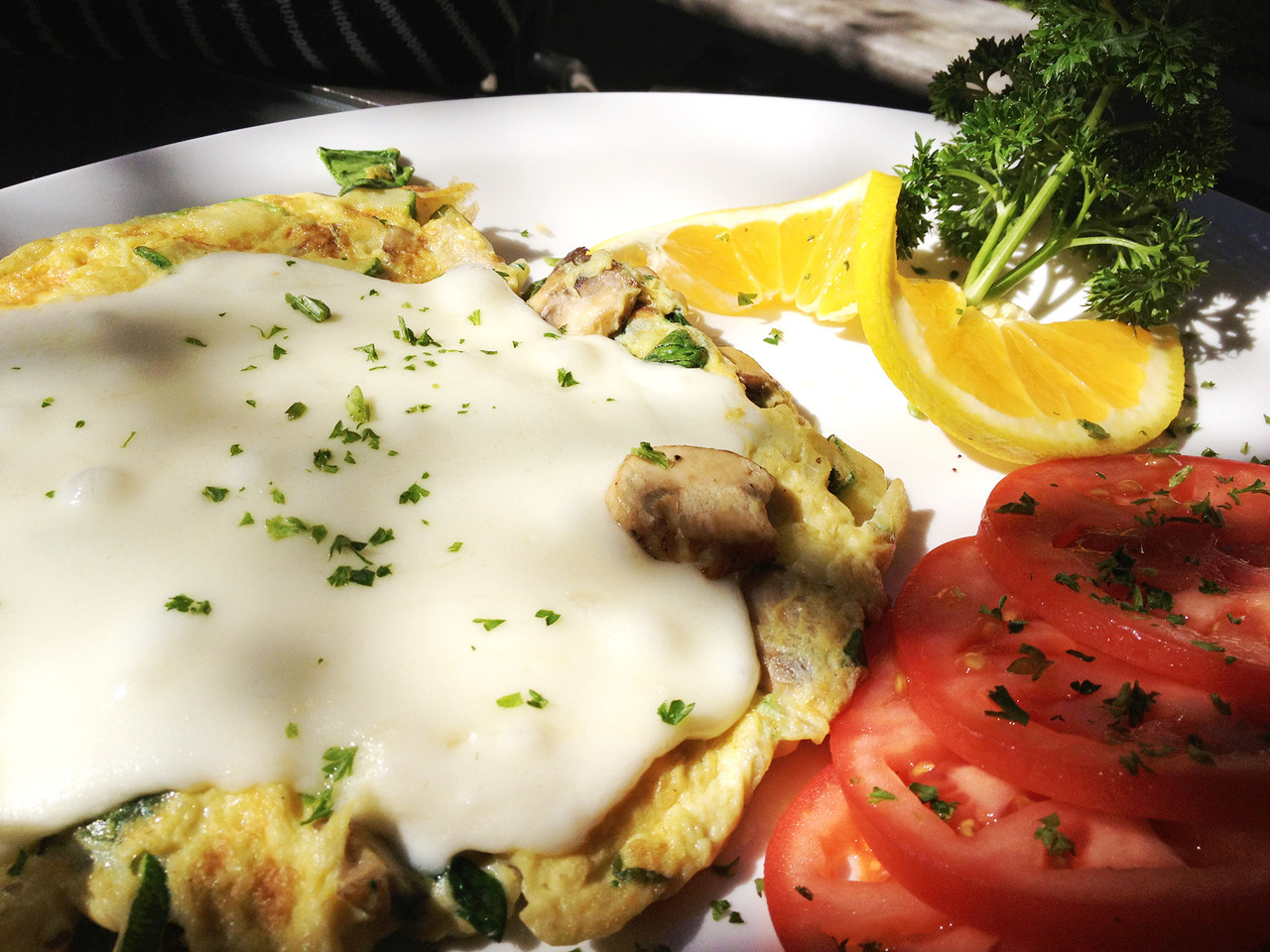 Rise and shine! Veggie omelet to the rescue. -Braised Bombshell