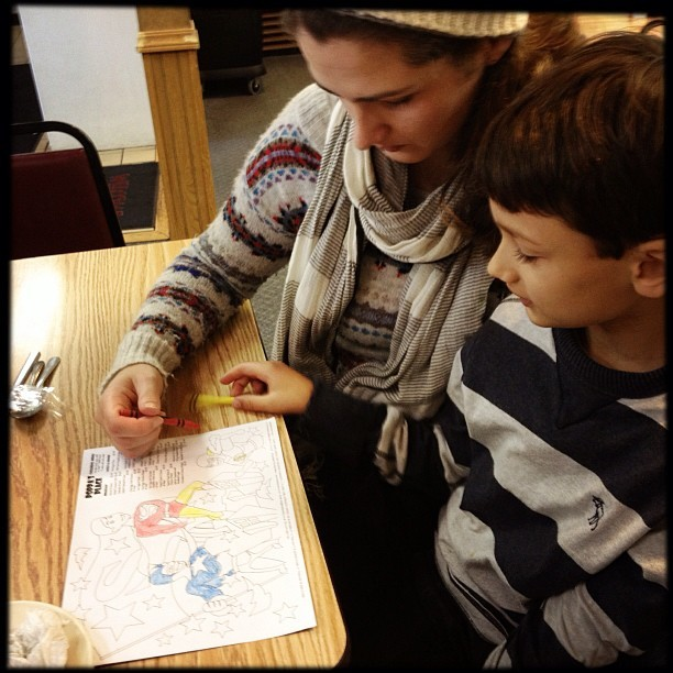 photo by Mike Ambs coloring in super heroes at lunch with @erica_hampton and @xanderbrody :)