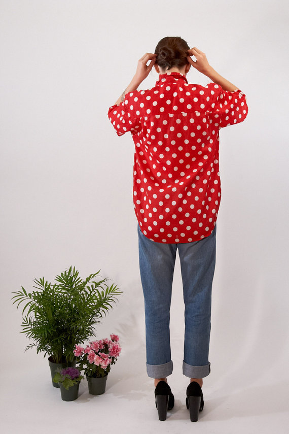 ELEPHANT MEMORY (via RED DOT polka ramie shirt 90s M by elephantmemory on Etsy)