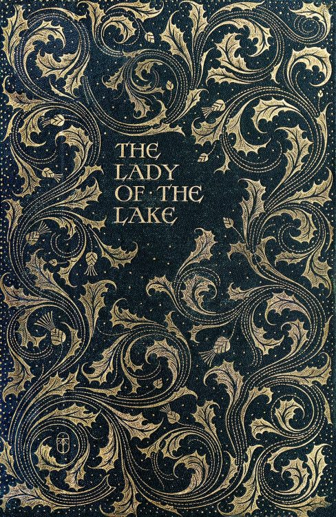 oldbookillustrations:  Front cover from The lady of the lake, by Walter Scott, illustrated by Charles Edmund Brock. London, 1904. (Source: archive.org)