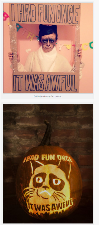 theslyestfox:  GUYS! My Grumpy Cat themed Halloween costume and Jack 'o Lantern are featured on the front page of Grumpycats.com today!! EXCITING TIMES!!!!! HAPPY LOLOMEME EVERYONE!