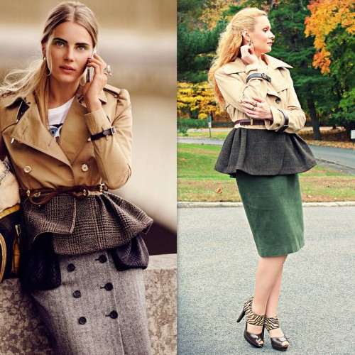 DIY Burberry Prorsum Inspired Trench Coat Tutorial from Impromp-two here. This DIY was all hand sewn using a trench coat and a men's jacket. She also added leather buckles to each sleeve. This is one of my favorite DIYs. Left Photo: Burberry Prorsum here. Right Photo: DIY by Impromp-two.