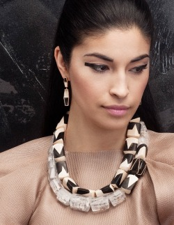 Monique Pean's collection of handmade fine jewelry for Fall/Winter 2012 offers exquisite pieces that you can add to your gift wish list now.  Pean uses 100% recycled metals and conflict-free diamonds, support fair trade and artisans, and gathers all materials following environmentally-responsible methods. The pieces are as sustainable as they are beautiful, so it's also no wonder that Michelle Obama is a fan of the wooly mammoth bone jewelry. Continue reading—and view more pics—in my feature article for Discovery's TreeHugger.com, here: Monique Pean Turns Mammoth Bone Into Striking Sustainable Jewelry