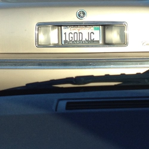 Got stuck behind Jesus in traffic. Cool plates bro.