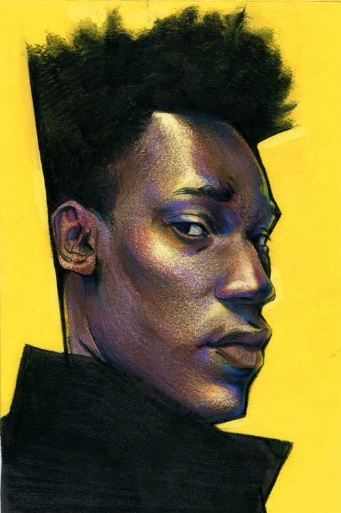 "sbuzzard:  teenboyfantasy:  Nathan Stewart-JarrettWax Pencil 6"" x 9""  Look at those colors…Those lovely, lovely colors."