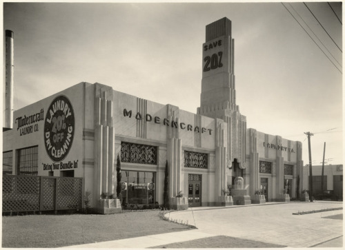 losangelespast:  Moderncraft Laundry Co., 900 N. La Brea, 1920's. The building still stands, though the tower has been removed.