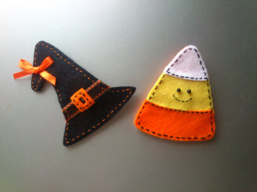 Halloween Felt Candy Corn or Witch's Hat Brooch by witchywoocrafts