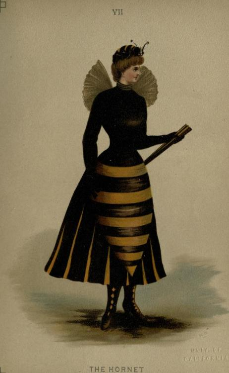 Hornet fancy dress, 1887 England, Fancy Dresses Described by Ardern Holt  Short black or brown dress of velvet or satin; boots to match; tunic pointed back and front, with gold stripes; satin bodice of black or brown with gold gauze wings; cap of velvet with eyes and antennæ of insect. (See Coloured Illustration, No. VII.)