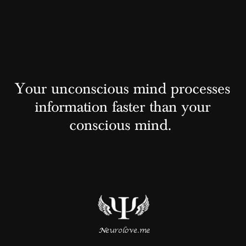 psych-facts:  Your unconscious mind processes information faster than your conscious mind.  The dual process theory states that we think about things unconsciously and consciously. Unconsciously, we take in a lot of information and automatically process them without much effort into thinking. For example, we may unconsciously process what's in the surrounding while we are paying attention to our computer screens. We may consciously not be aware of what's going on in the background, but our unconscious mind has already taken in that information. While with conscious or controlled thinking, we put in actual efforts to understand what we are observing. For example, you read this and you try to understand it. That is conscious thinking.  It is suggested that most of our thinking is unconscious, because they are outside our awareness. There are too much information and distracting information in the environment for us to take it all in at the same time. So we need our unconscious mind to make sense of them for us. This unconscious process also takes place when we sleep and are trying to make sense of the things we didn't really notice in the day.   Source