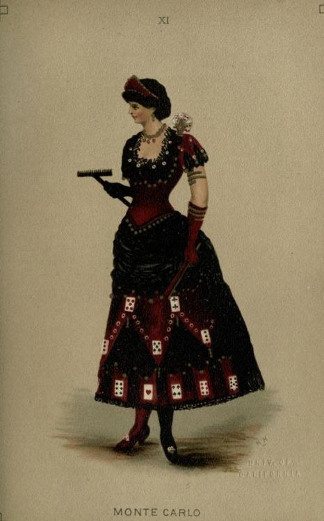 Monte Carlo fancy dress, 1887 England, Fancy Dresses Described by Ardern Holt  Dress, half red satin, half black velvet and lace; one shoe red, one black; short skirt fringed with coins, and trimmed with cards; pointed coronet of red satin, with aigrette of cards on shoulder; croupier's rake carried in hand; and Rouge et Noir. (See Coloured Illustration, Plate XI.)