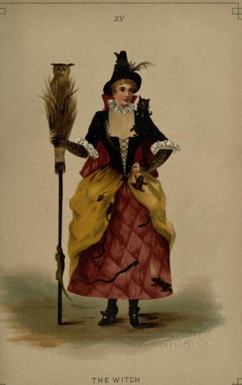 Witch fancy dress, 1887 England, Fancy Dresses Described by Ardern Holt  (See Hubbard, Mother; Macbeth, and Coloured Illustration, Plate XV.) Short quilted skirt of red satin, with cats and lizards in black velvet; gold satin panier tunic; black velvet bodice laced over an old-gold crêpe bodice; small cat on right shoulder, a broom in the hand, with owl; tall pointed velvet cap; shoes with buckles.