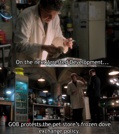crossingoverfringe:  Narrator: On the next Arrested Development, GOB protests the pet store's frozen dove exchange policy. (Arrested Development 1.02 Top Banana)