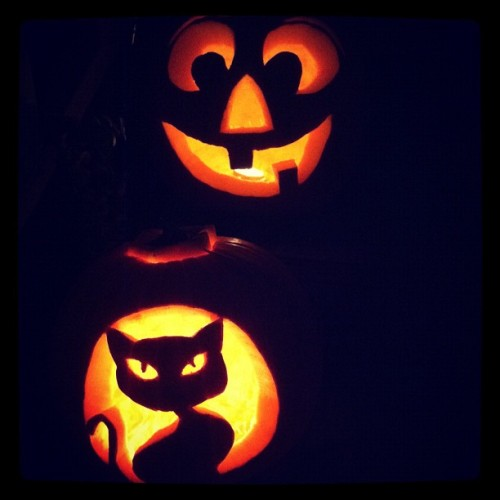 @luvlyloo and I carved pumpkins. My cat-o-lantern is cute