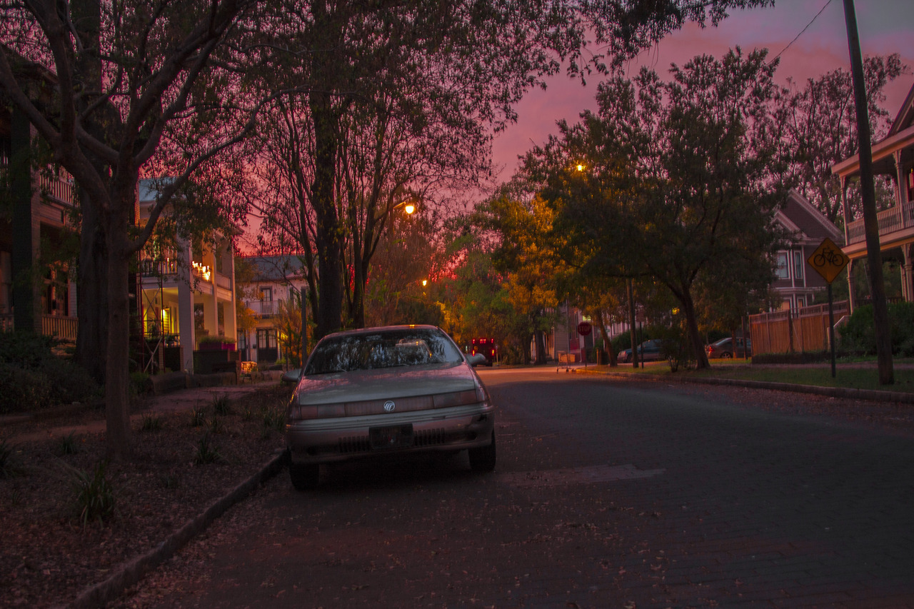 my street the other night, Hella October sky.