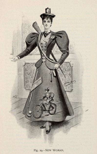 New Woman fancy dress, 1896 England, Fancy Dresses Described by Ardern Holt  (See Illustration, Fig. 29.) She wears a cloth tailor-made gown, and her bicycle is pourtrayed in front of it, together with the Sporting Times and her golf club; she carries her betting book and her latch-key at her side, her gun is slung across her shoulder, and her pretty Tam o' Shanter is surmounted by a bicycle lamp.  She has gaiters to her patent leather shoes, and is armed at all points for conquest.  This girl CAN. NOT. BE. STOPPED!!