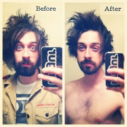 Did a quick before and after #pic if #me attempting to look less #scruffy. #haircut #beforeandafter #beard