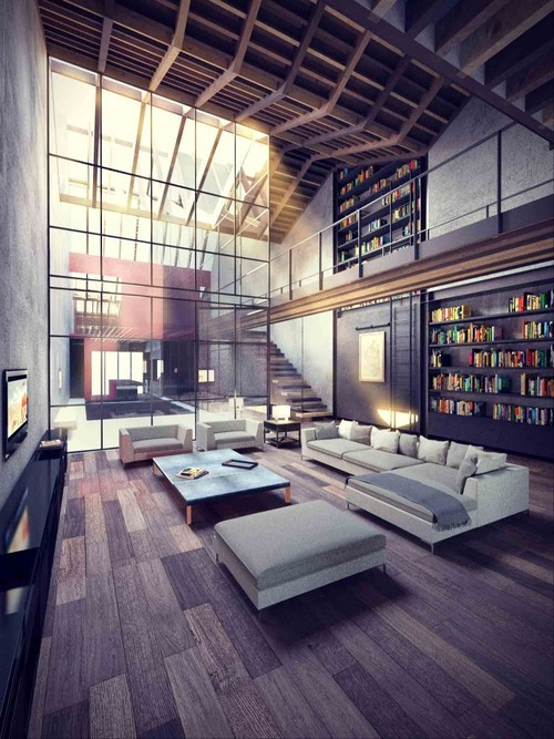 nice. high ceiling and wood. with plenty of bookshelves.