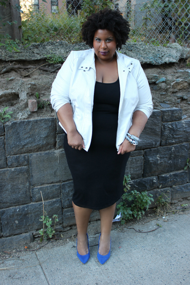 Jacket: OneStopPlus \ Dress: ASOS Curve \ Shoes: Avenue \ Bracelets: Hardware Couture blog: fatshioninsider.blogspot.com #Blackfashion FacebookTwitter @BlackFashionbyj