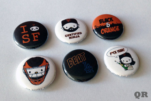 Hello Kitty x SF Giants Set of 6 Pins - I [Panda Head] SF- Certified Ninja- Black & Orange- Posey Head- Beat LA- F*ck Yeah
