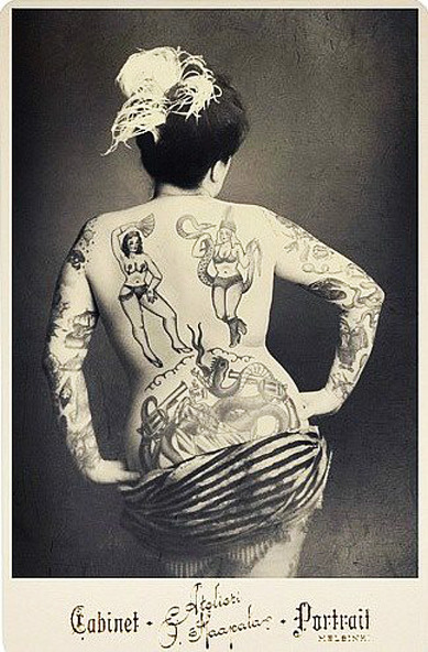 Tattooed lady Cabinet Card