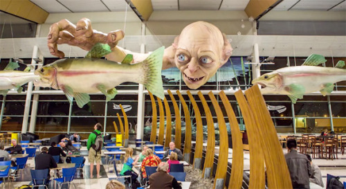 Ahead of the new Hobbit movie an art installation featuring a gigantic Gollum, sticking his head underwater grabbing for fish, was installed at Wellington (NZ) airport this week. via
