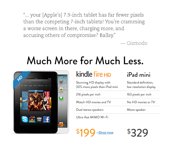Amazon compares iPad mini with Kindle HD. Quite misleading on their part to not mention that iPad mini supports LTE, but not Kindle HD. And deliberately so.