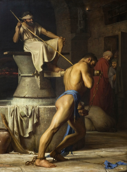 alabaster1:  Carl Bloch - Samson and the Philistines [1863]
