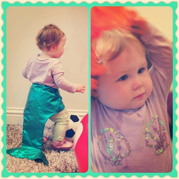 For those who didn't see Sophie's Mermaid Halloween costume. Katie made the tail from scratch and sewed the shell outline onto the tshirt. #mermaid #halloween #instababy #cute #sophie #toddlergram #babygram #costume