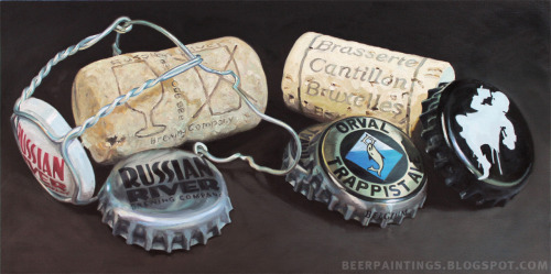 A commissioned, large scale oil painting of caps and corks from Orval, Russian River, and Cantillon.