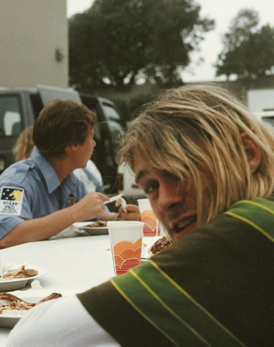 dailykurtcobain:  On a lunch break from Smells Like Teen Spirit, 1991.