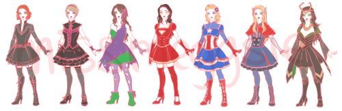 missmeggsie:  So I've been designing my own lolita(ish) versions… (◡ ‿ ◡ ✿) (Please seek my permission first if you want to use/make any of these designs~)