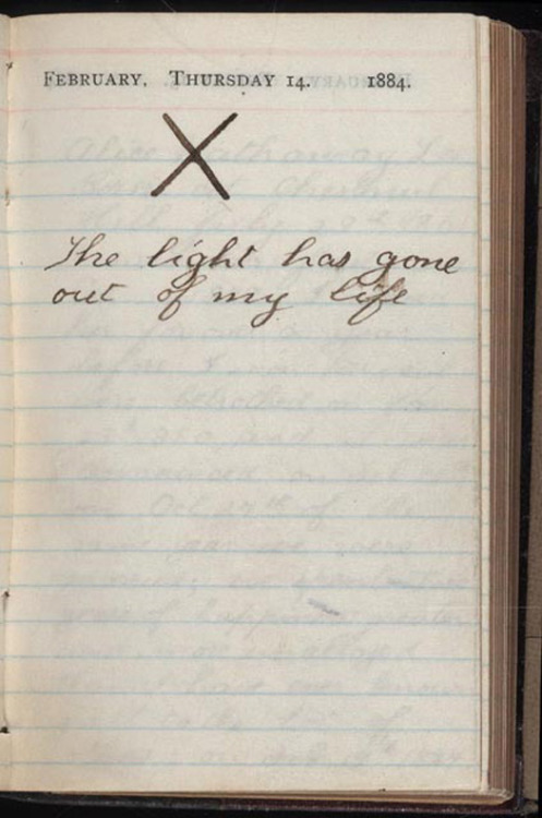 fascistrevolution:  Teddy Roosevelt's diary entry from the day his wife Alice died of kidney failure. He never spoke publicly about her again.  I have seen this a million times and it never ceases to completely slay me. Not only did his wife die after giving birth but his mother also died due to typhus within just hours of each other. (source)