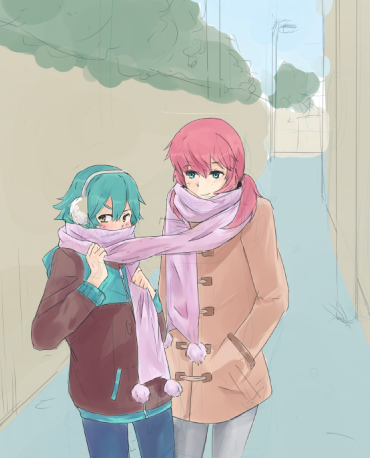 This way neither of us will catch a cold   also known as Kirino owns the longest scarf in history. WIP ' 7 '