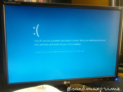 This is what  a Blue Screen on Windows 8 looks like