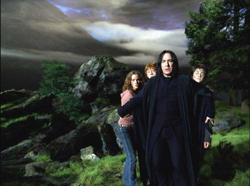 Okay, Severus Snape is a shitty, shitty teacher. He's physically and verbally abusive, he belittles his students, he undermines his colleagues' authority, and to top it all off, his students have to learn things in spite of, not because of, him. If you are both a teacher and a relatively normal thirteen-year-old's worst fear in the entire world, probably the best thing I can say about you is that your pedagogy is reprehensible. In fact, the only thing that makes me like him as a teacher is this bit from the third movie. He's furious at those children, he's been humiliated, he's nursing old wounds — and yet the first thing he does when faced with danger is toss himself between them and it. He doesn't even think about it; he just moves. Because when you are a teacher, no matter how shitty, that is what you do.