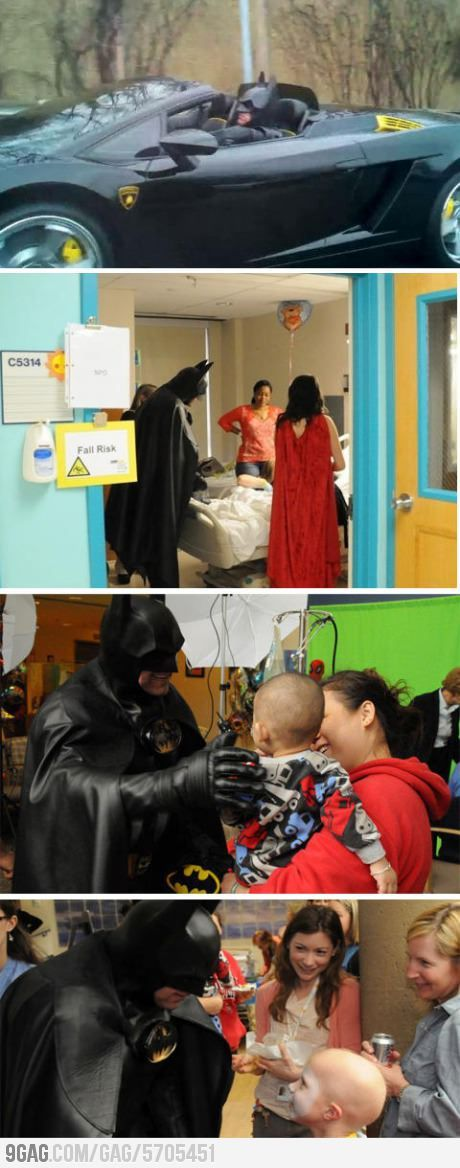 9gag:  Real life Batman visiting children in the hospital