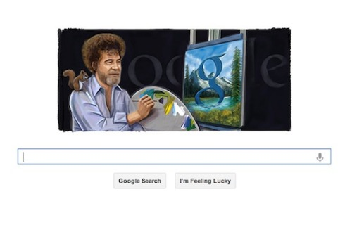 FOUR HUGE WORDS: Bob Ross Google Doodle.  Here's why the soft-speaking national treasure is gracing Google today.