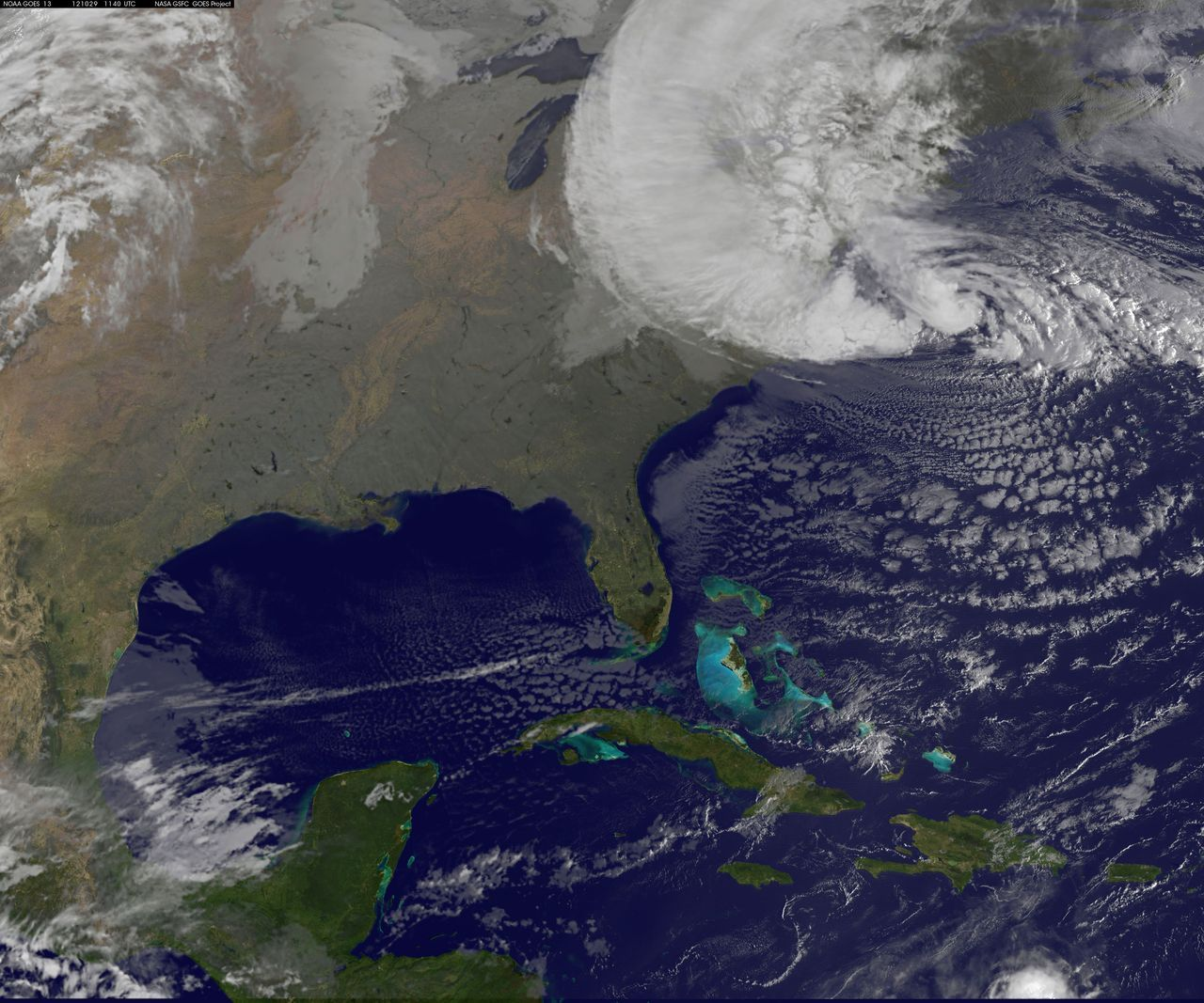 wnyc:  (One of the most recent satellite images of Hurricane Sandy, via the NASA GOES project.) Hurricane Sandy is nearing landfall this morning - and we're keeping an eye on the storm.  Tune into WNYC for the latest news, and keep in touch with us on Twitter — we'd love to hear (and share) your stories!  (For a roundup of everything we're doing on and off social media, try this page.) WNYC's Hurricane Resources:  Sandy Tracker | Transit Tracker | NYC Evacuation Zones | Storm Surge Zones In NY/NJ