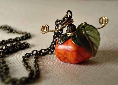 Pumpkin Necklace Brass Chain Cinderella by RhondasTreasures