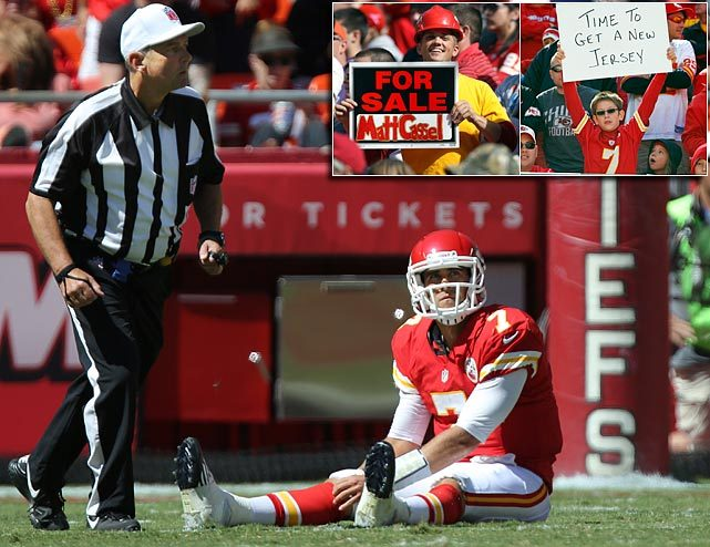 Another Sunday, another loss for the Chiefs, who fell to 1-6 after a 26-16 loss to the Raiders. Matt Cassel threw for 218 yards with a touchdown and interception, but (as this photo illustrated) fans in Kansas City are ready for a change. (AP) GALLERY: NFL Players on the Trading Block